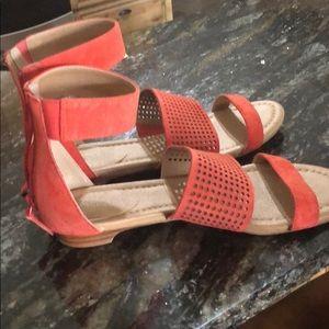 Tahari orange suede sandals!